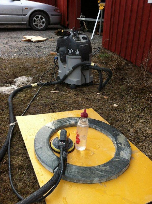 Polishing DIY sauna stove ring